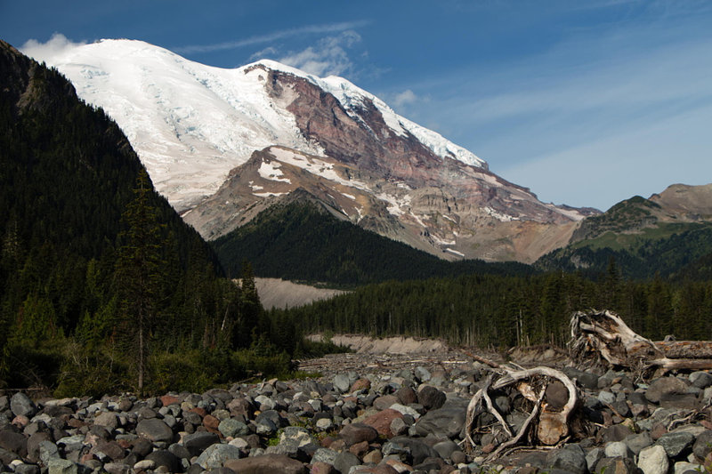 The slopes of Mount Rainier as seen from the White River.