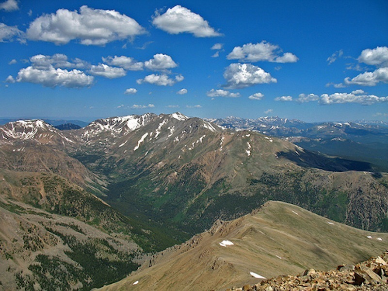 View from Mt. Massive's summit on a summer day.