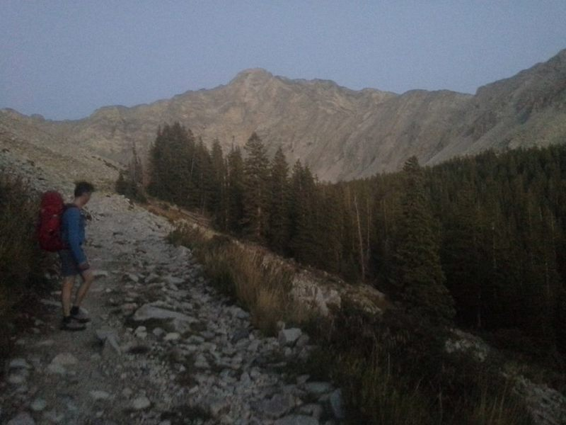 Nearing Lake Como at dusk, with Little Bear Peak in the distance.