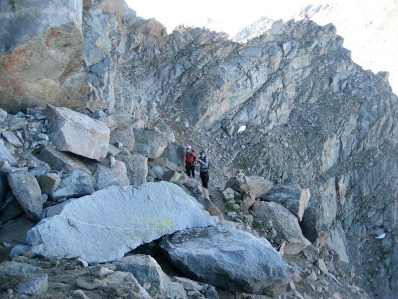 The catwalk on the Sawtooth trail. Exposure can be seen to hiker's left.