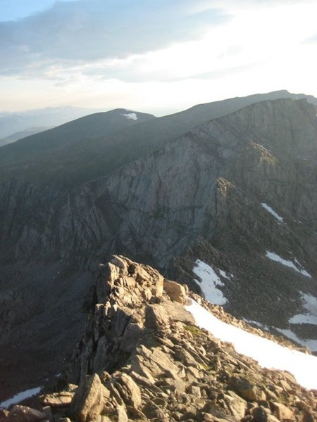 A look at the Sawtooth from near the summit of Mt. Bierstadt. Two large gendarmes can be seen above the saddle. Stay to the right of the first, and the left of the second.