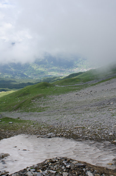 Nearing the Eiger's talus field.