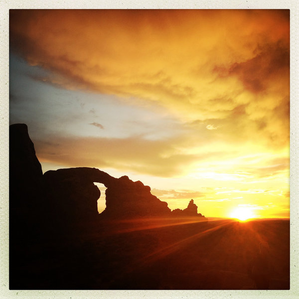 Sunset on the Windows Loop Trail in Arches National Park