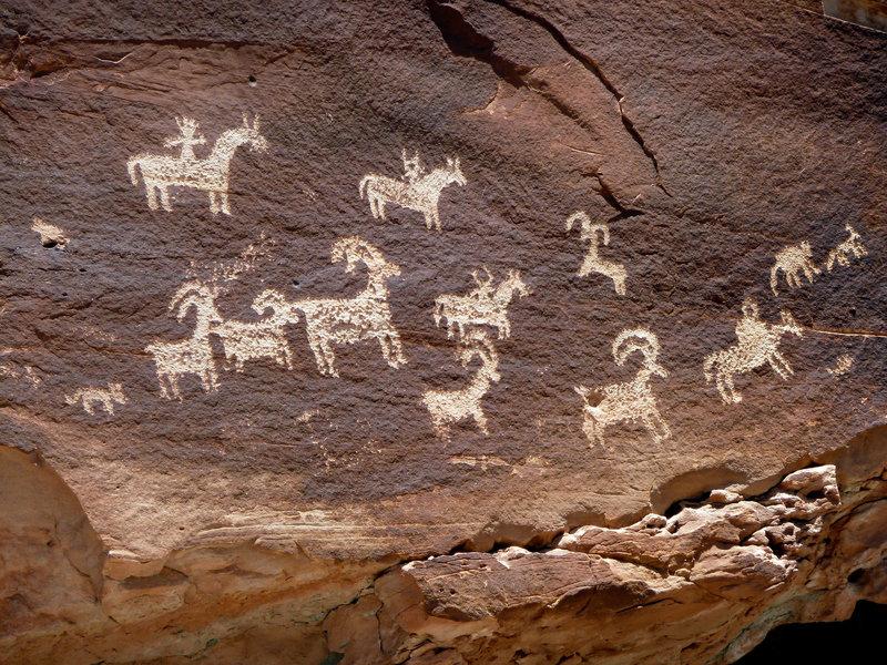 Ute Indian petroglyphs near Wolfe Ranch
