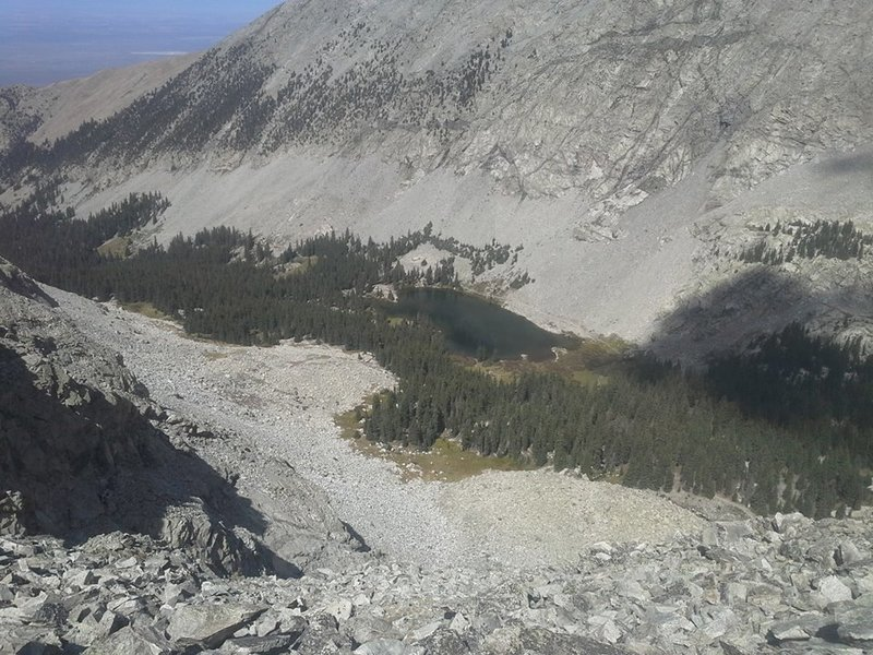 A look down the finally gully of the day. Lake Como can be seen at the bottom, along with the end of the trail.
