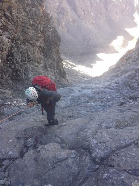 Rappel-hiking down the icy Hourglass in early fall. Minimal sunlight = icy.