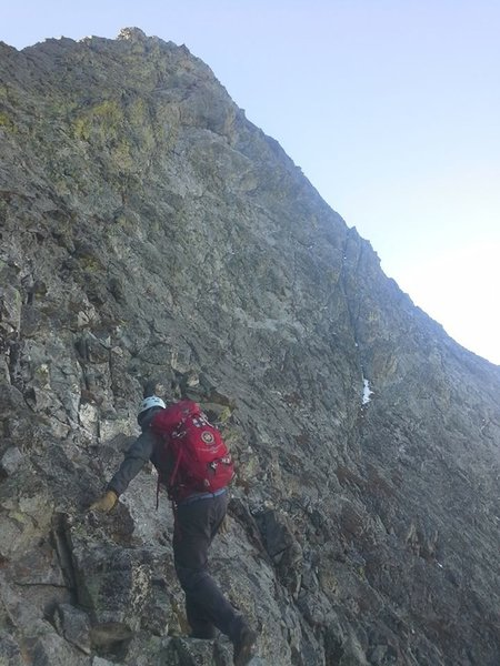 Standard exposure and scrambling along the Northwest Face.