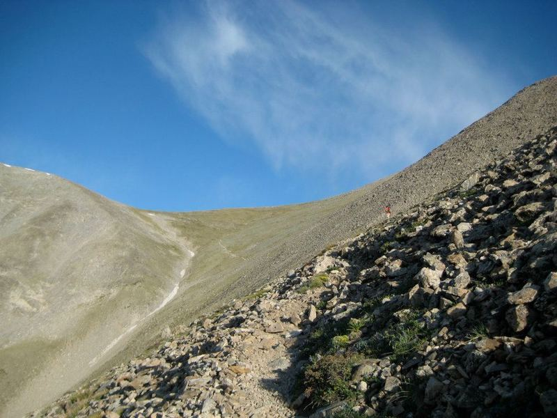 The saddle at 13,400 ft, as visible from above treeline on the Mt. Shavano Trail