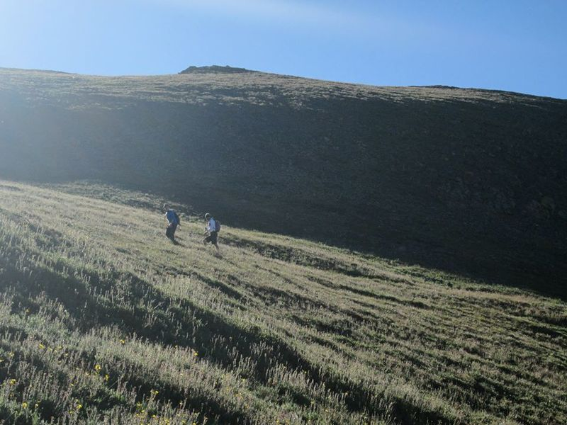 Grassy slopes below the saddle.  On Handies Peak Trail