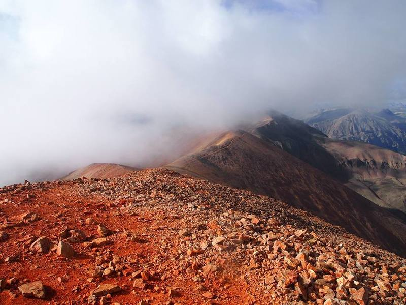 Unique Redcloud dirt near the summit of Redcloud Peak