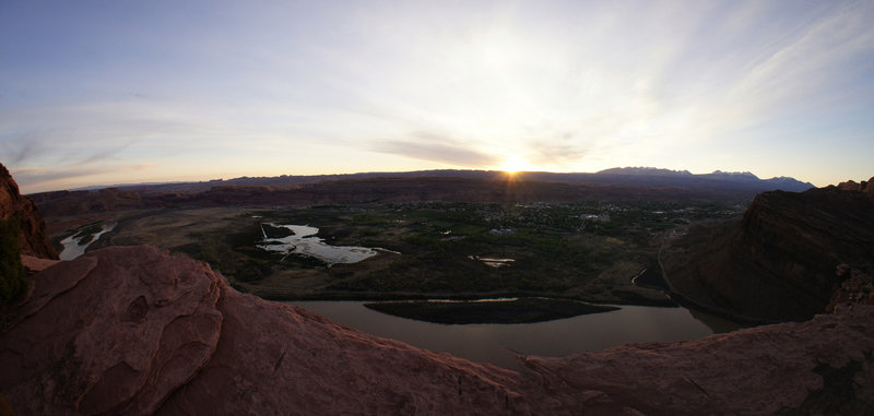 Watching the sun come up from the Portal Overlook Trail in Moab, UT.