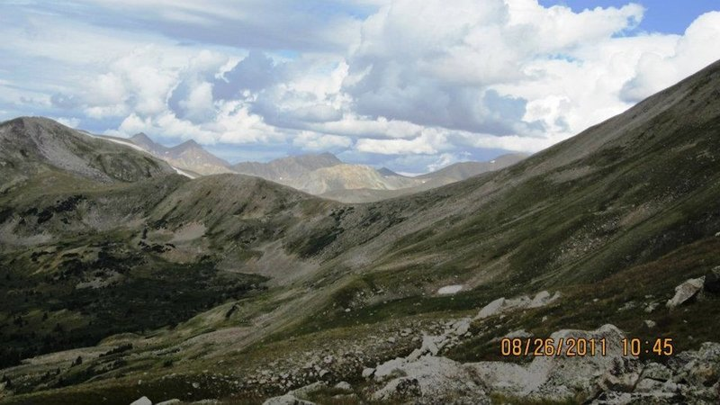 A look at a part of the basin formed by the ridges of Mt. Yale.