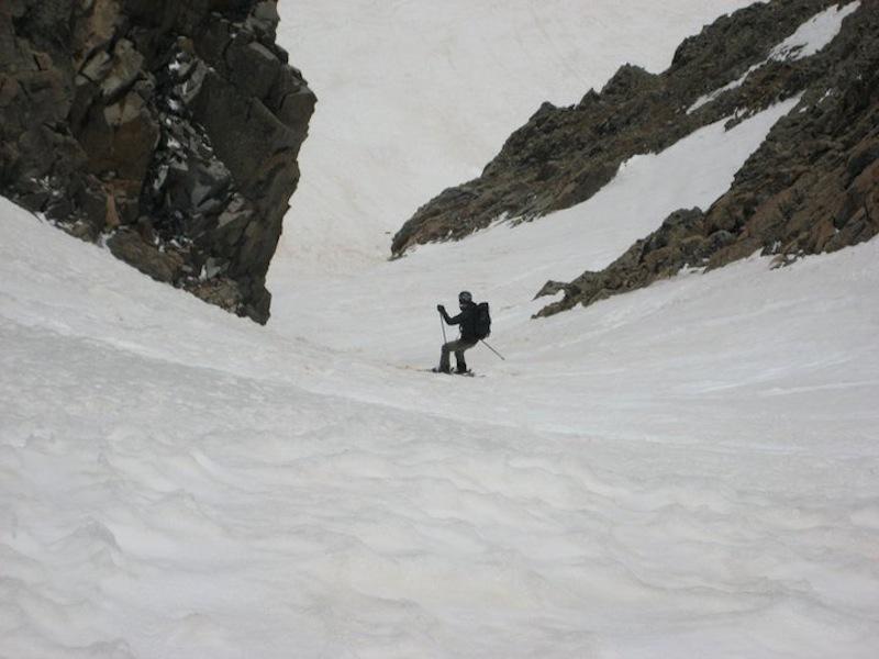 A fun ski down Conundrum Couloir.