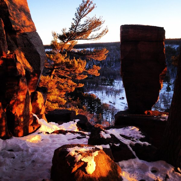 Balanced Rock on a winter's eve.  Balanced Rock Tail