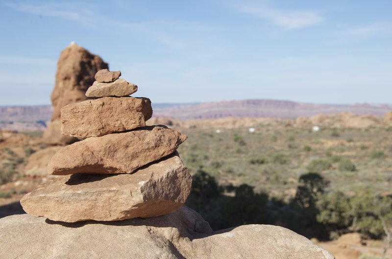 Follow rock cairns to guide you along the trail