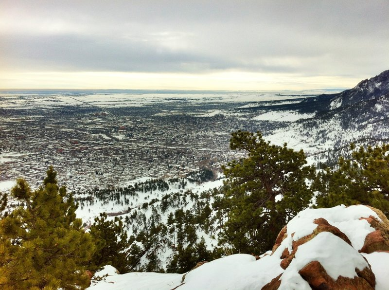 snowy view from Mount Sanitas East Ridge Trail