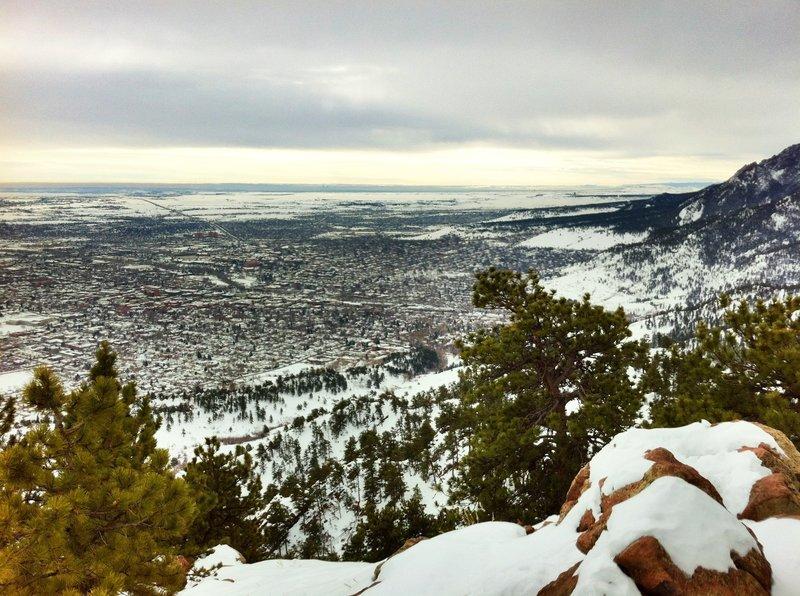 snowy view from Mount Sanitas East Ridge Trail