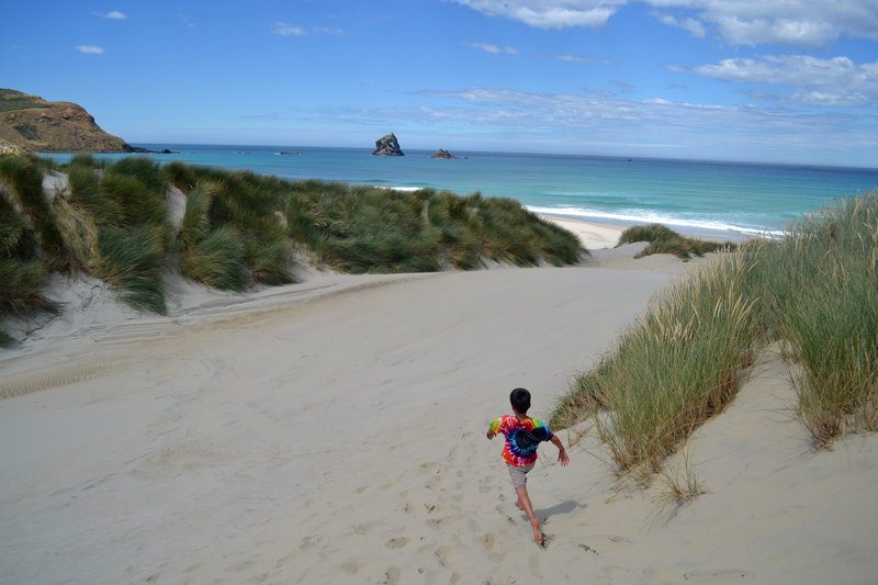 Fun in the dunes on the way to Sandfly Bay.