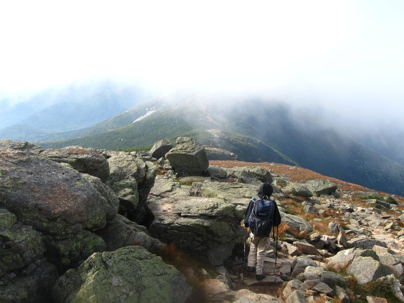 Descending off of Mt. Lafayette.