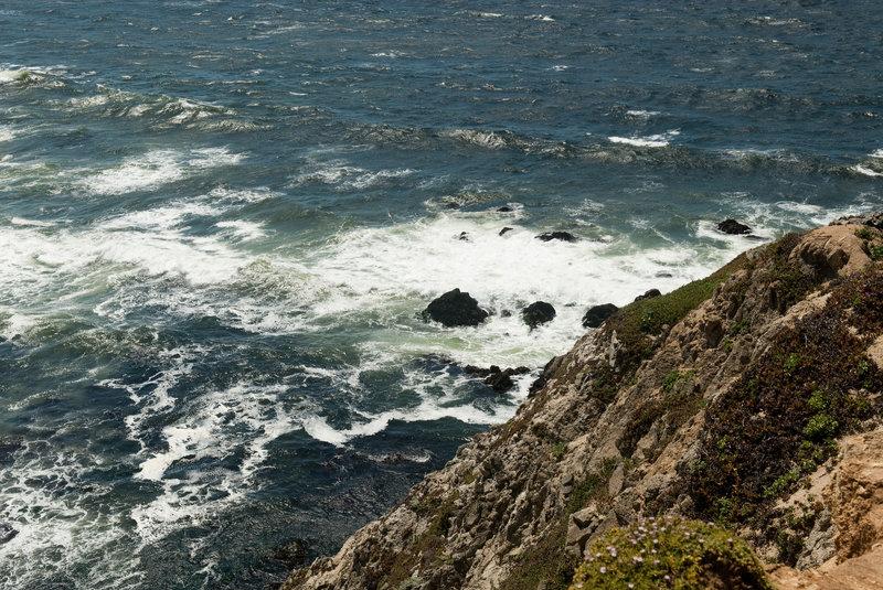 View down the cliffs