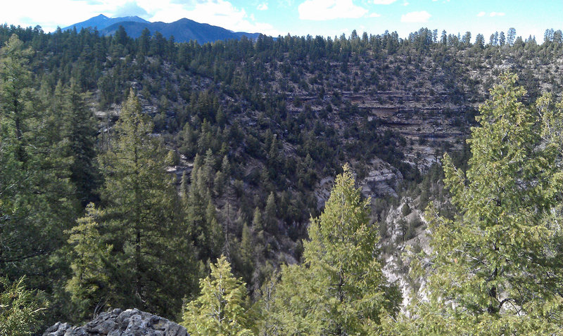 Cool views of the Peaks over Walnut Canyon.