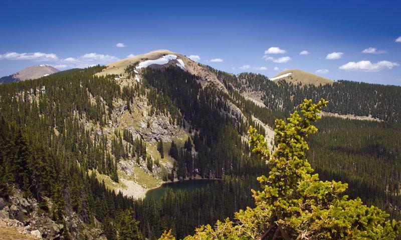 Atop Tesuque Peak looking towards Santa Fe Lake