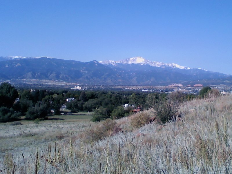 Looking at Pikes Peak from the Palmer Point Trail near the horse stables.