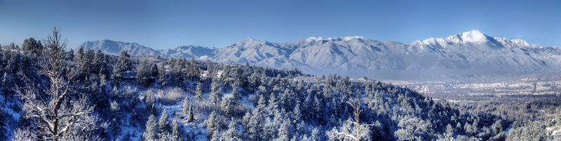 A frosty view of Pikes Peak from Palmer Park.