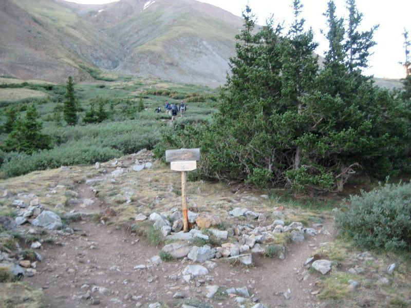 Junction. From the trail to the south, turn left for Mt. Belford, right for Mt. Missouri.