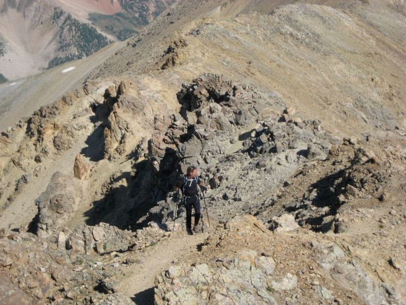 Approaching the summit of Mt. Missouri on semi-technical terrain.