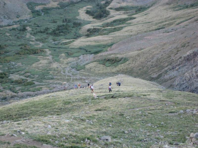 A look at the switchbacks on Mt. Belford's northwest ridge.