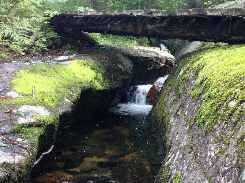 A bridge crossing over a stream at the beginning of the Johannsen trail.