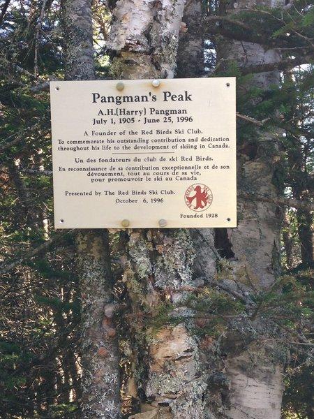 Pangman's Peak.  This plaque accompanies the concrete marker.