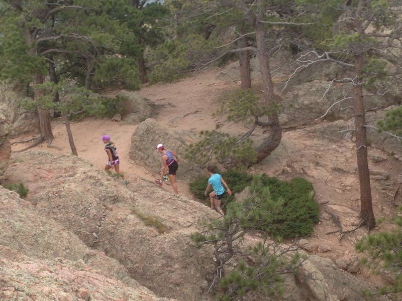 Racers heading up Arthur's Rock.