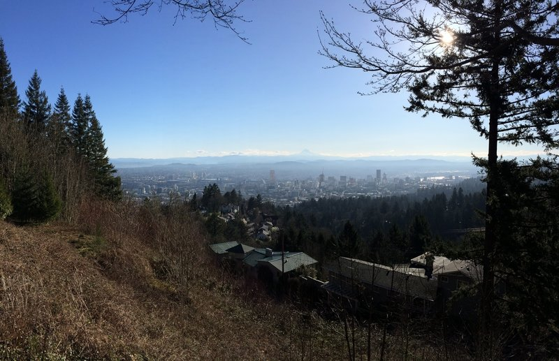 Beautiful view of Mount Hood and Portland from Pittock.
