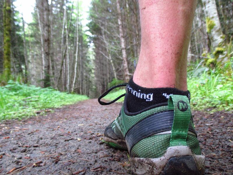 Slug's-eye view of trail runner on the OAT.