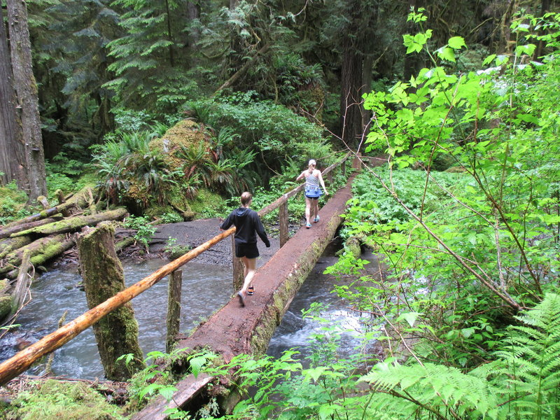 Crossing a bridge over the Little River.