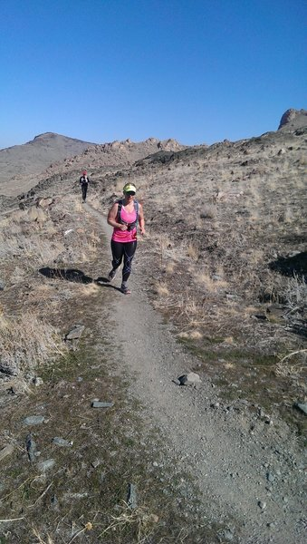 Running the switchbacks of Split Rock Loop Trail