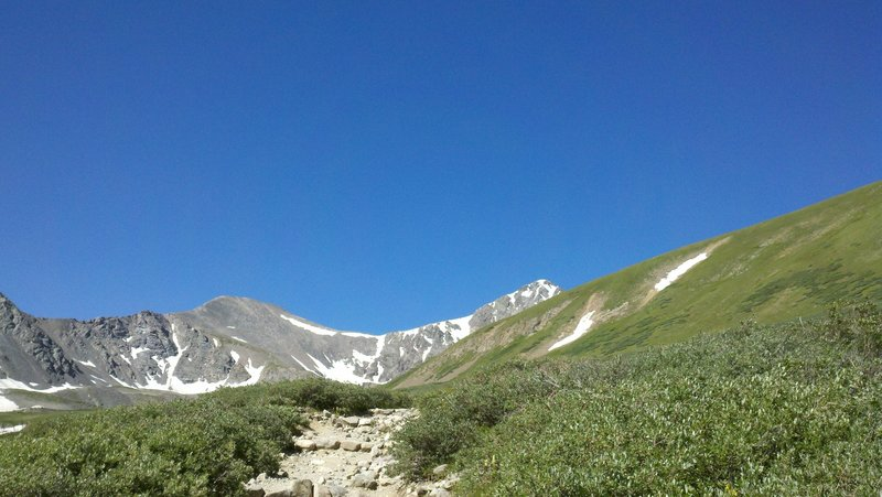Grays (left) and Torreys (right) on a bluebird day along the Grays Peak Trail