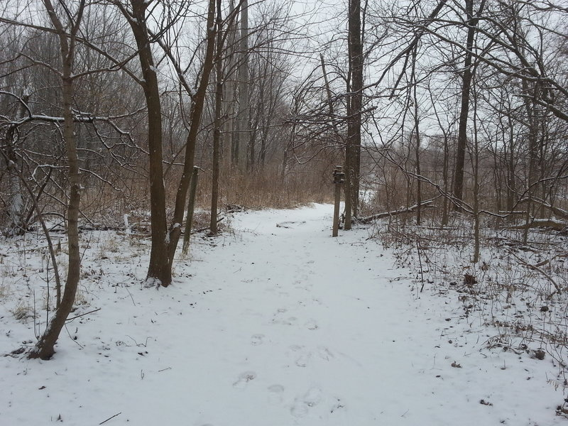 Winter view of turn near Davis Ferry Park entrance/intersection looking east.  Wabash Heritage Trail - Northern section