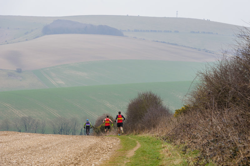 The front runners in the 2015 Moyleman Marathon as they head down towards Housedean Farm. The climb up to the top of Kingston Ridge lies ahead.