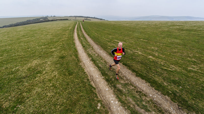During the 2015 Moyleman race with climb up to Firle Beacon, with Mt Caburn and Lewes in the distance.