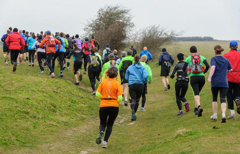 At the start of the 2015 Moyleman Marathon, the runners head off up Landport Bottom on the first of their twenty six miles.