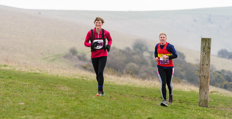 2015 Moyleman - running up out of Southerham Nature Reserve together on the last few miles