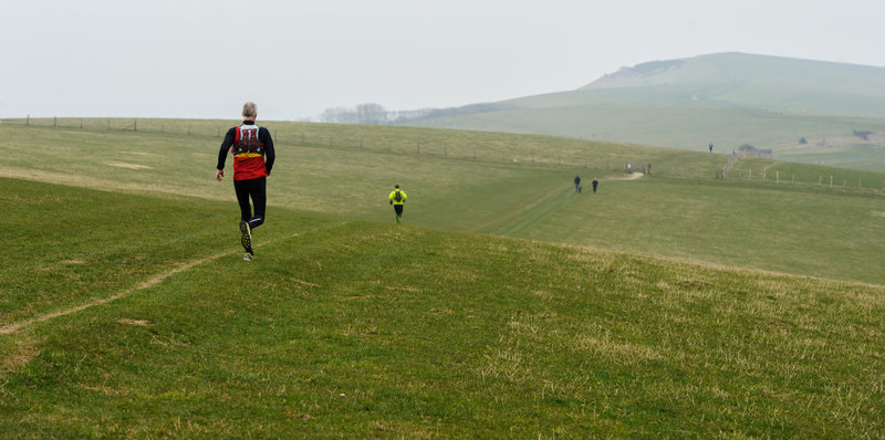 The 2015 Moyleman marathon field is fairly spread out by the time they reach the long climb up towards Firle Beacon