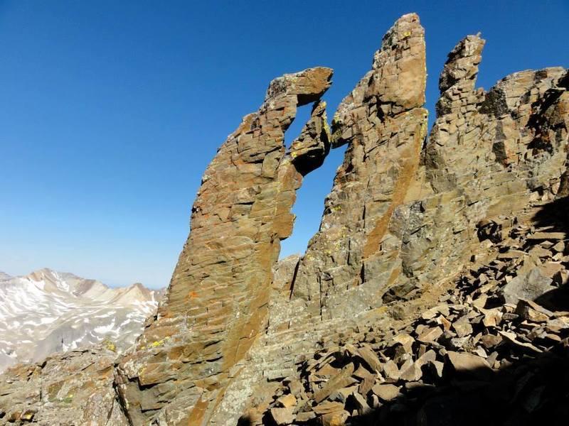 "The ""Kissing Camels."" This rock formation marks the end of gully jumping before attaining ridge proper."