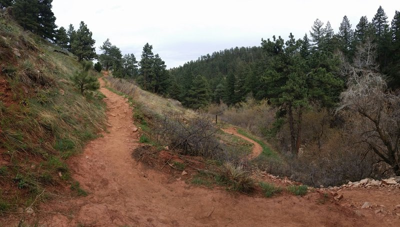 The turn on the Mesa Trail down to the steps to the stream crossing behind NCAR