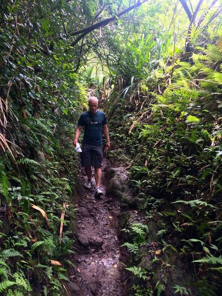 Past Pololu Valley, the trail gets muddier and harder, but it's worth it!