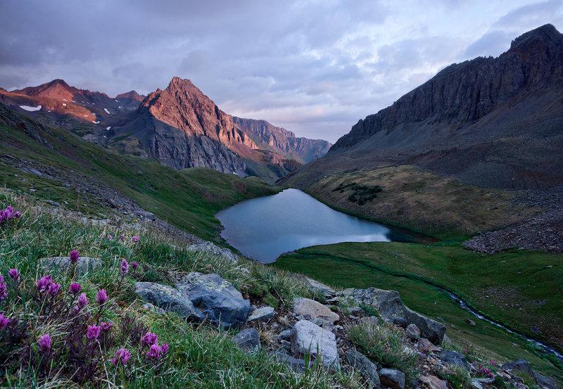 Middle Blue Lake at sunrise.