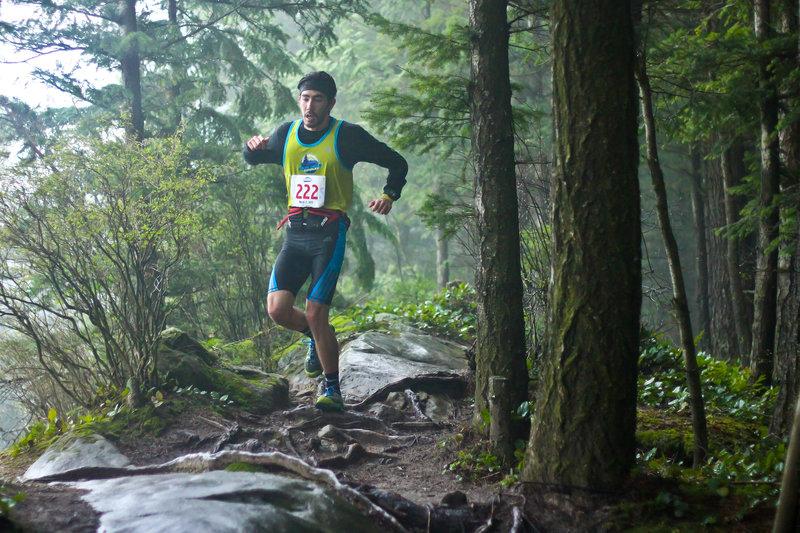 Navigating the most technical part during the Chuckanut 50k.